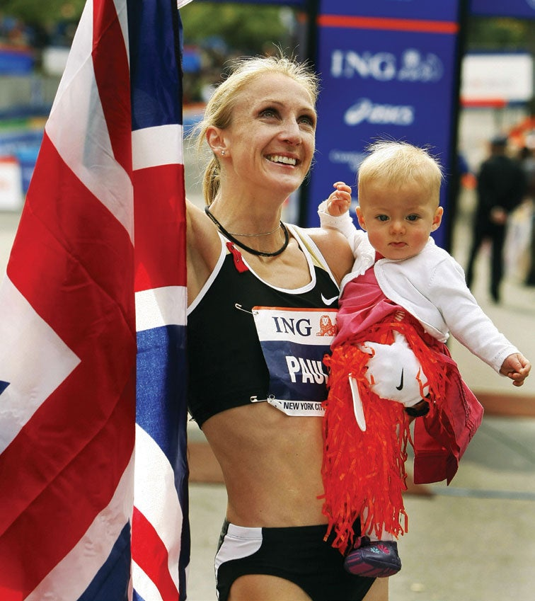 2007- Marathon world-record holder Paula Radcliffe wins the New York City Marathon just 10 months after giving birth to her first child. The image of Britain's Radcliffe wrapped in the Union Jack while carrying her baby daughter after the race serves as inspiration for mother runners everywhere.