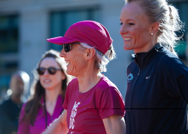 Joan Benoit Samuelson and Shalane Flangan were on hand to cheer the runners on.