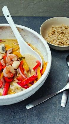 green thai curry shrimp scallops