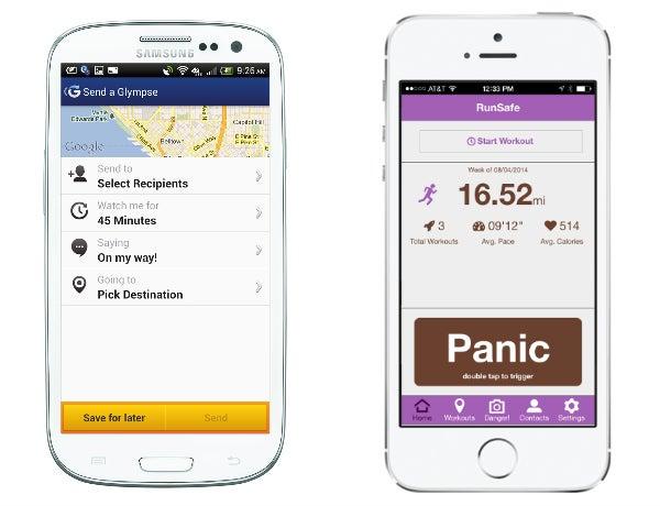 From Left to Right: Glympse App, RunSafe App