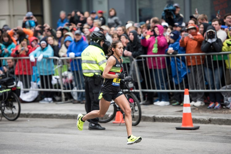 Desiree Linden placed fourth overall and first for the American women at the 2015 Boston Marathon. Photo: Scott Draper