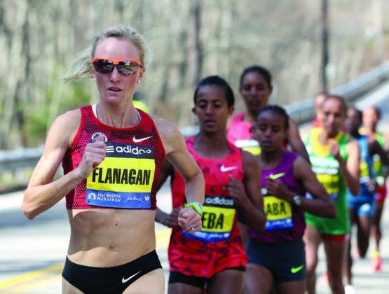 Shalane takes the lead at last year's Boston Marathon.