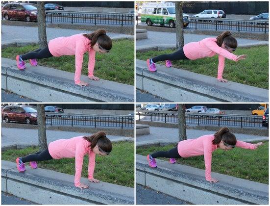 plank with arm reach