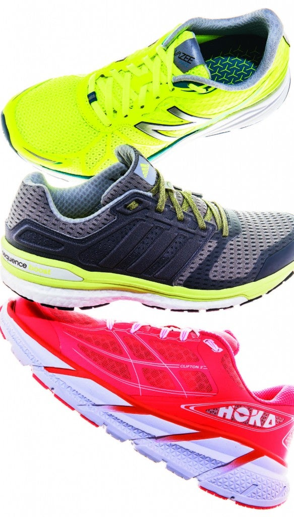 New Balance Pace Vazee, Adidas Supernova Sequence Boost 8, and Hoka One One Clifton II