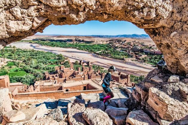 Sally climbs to Ait Ben Haddou watchtower