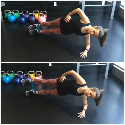 side plank with leg lift - mini band