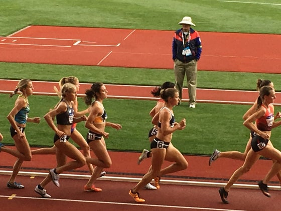 Molly Huddle and Emily Infeld lead halfway through the 5K.