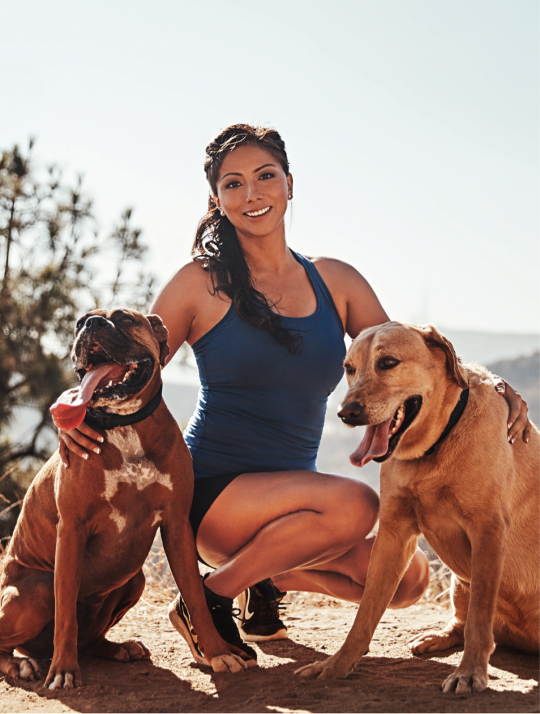 Nadia Ruiz often runs with Bruno and Max on trails in the mountains