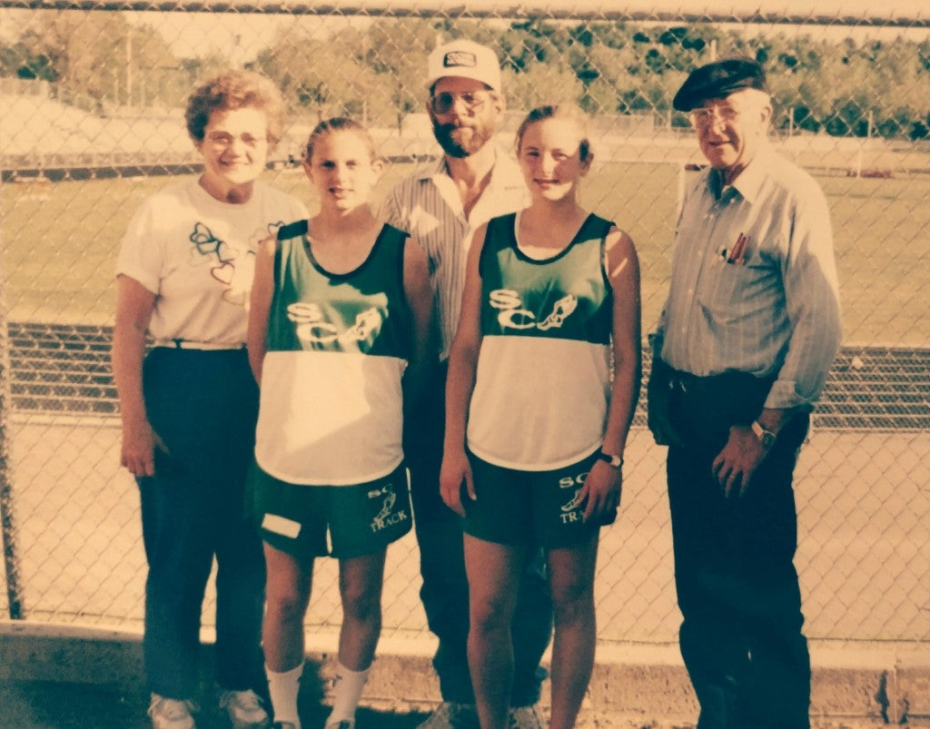 The author (middle right) at a track meet in high school.