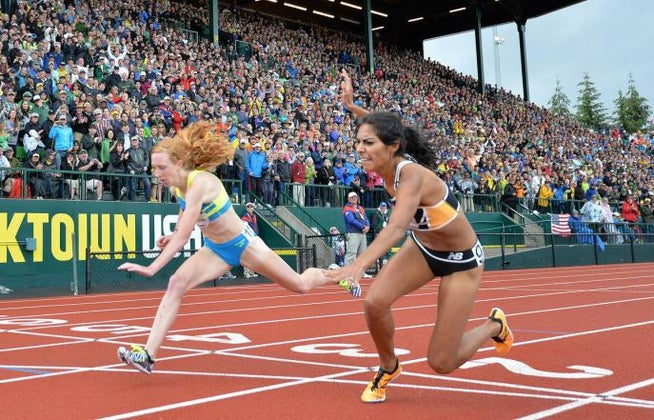 Jul 10, 2016; Eugene, OR, USA; Brenda Martinez (right) outleans Amanda Eccleston to finish third in the women's 1,500m, 4:06.16 to 4:06.19, during the 2016 U.S. Olympic Team Trials at Hayward Field. Mandatory Credit: Kirby Lee-Press-Enterprise