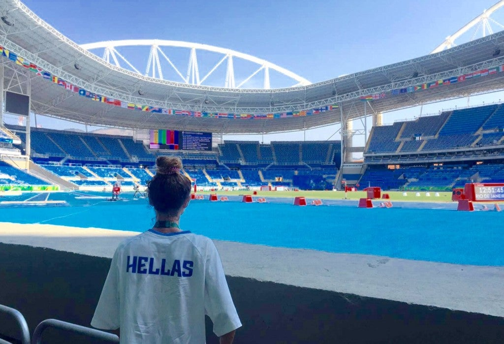Alexis Pappas looks out at the Olympic track, where she will race the 10,000 meters for Greece, for the first time.