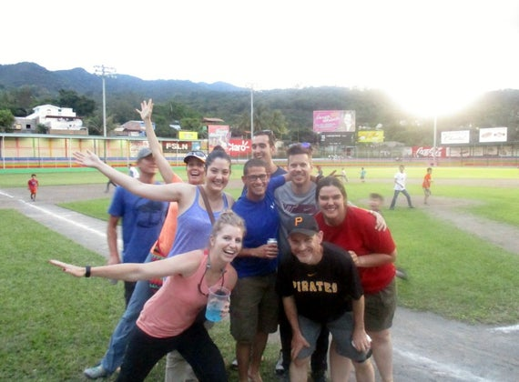 Running around the bases at a local baseball game!