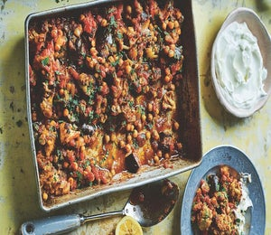 Recipe: Spiced Vegetables And Garbanzo Beans With Yogurt