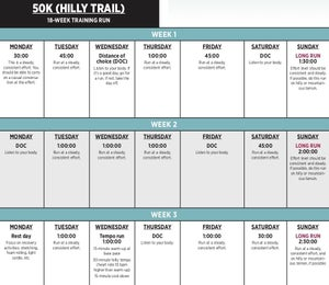 18-Week 50K Training Plan