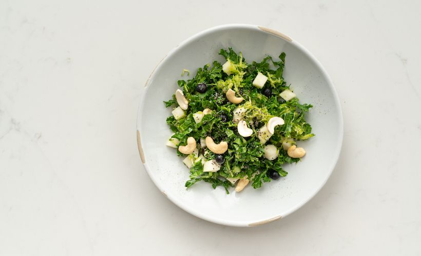 Recipe: Marinated Kale Salad With Blueberries And Cashews