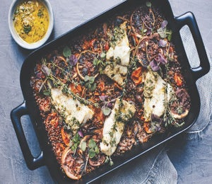 Lentil, Tomato And Olive Baked Cod Recipe