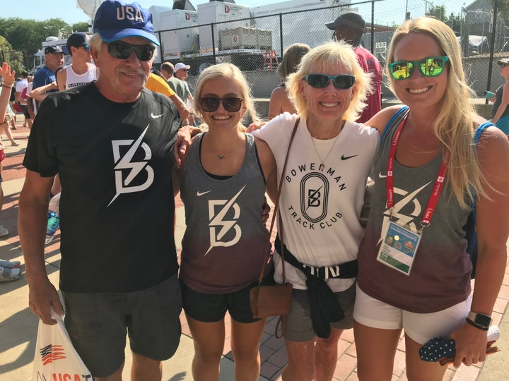 Shelby Houlihan's family (from left to right: Dad, Bob Houlihan; younger sister Callie; mom Connie; older sister Shayla) root for Shelby at the U.S.A. Track & Field Outdoor Championships.