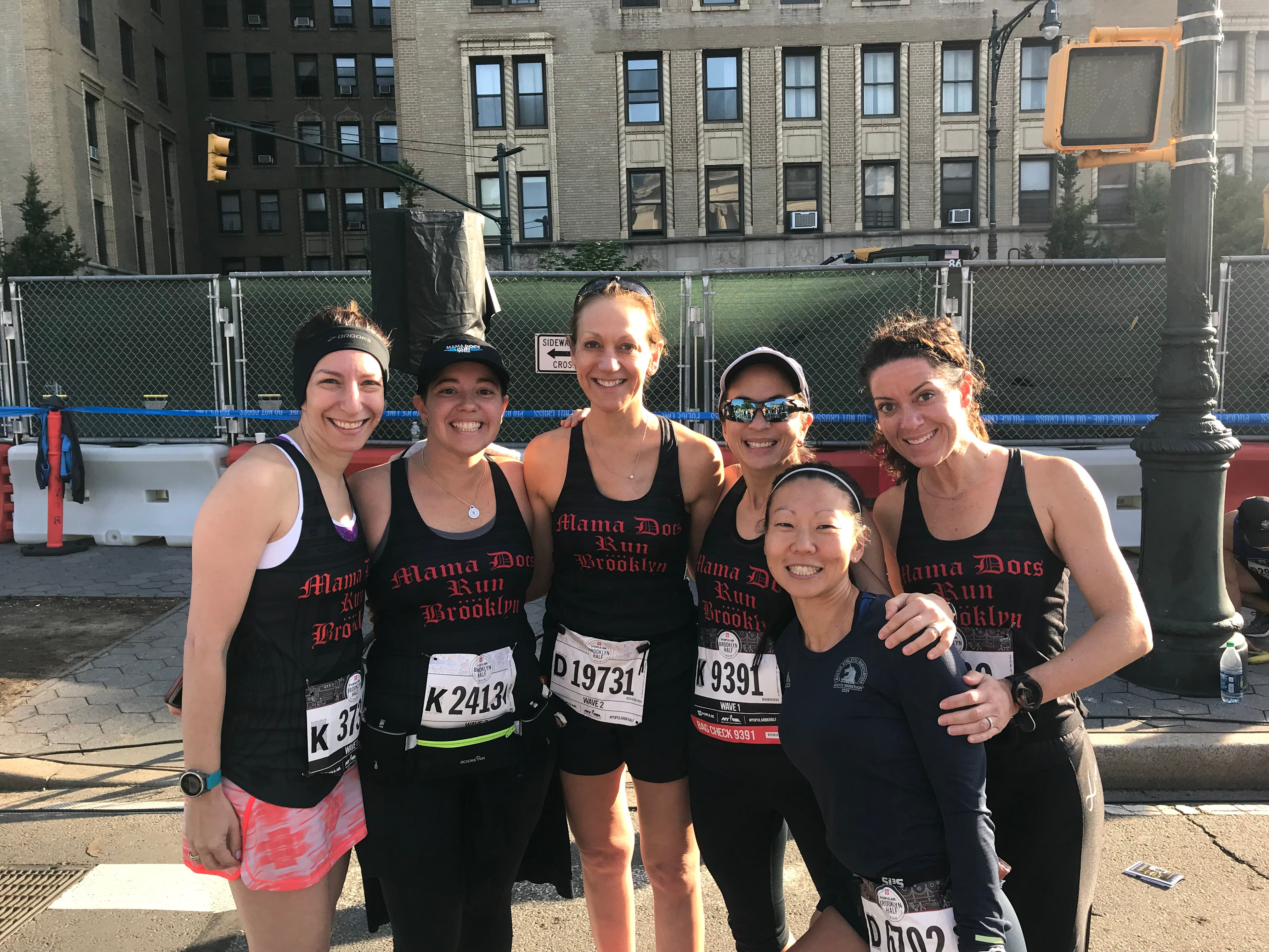 The Mama Docs online community often meets up in real life, like at the 2019 Boston Marathon.