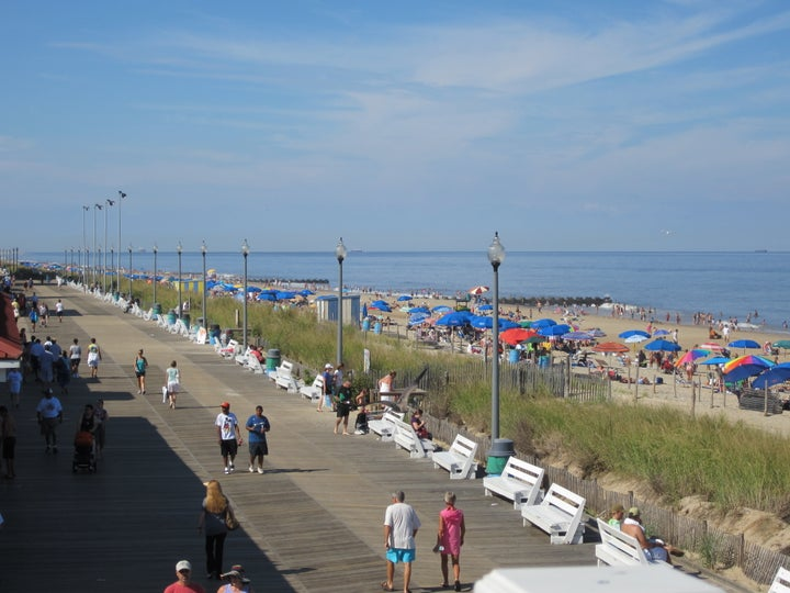 The sand is nicely packed  for runners in Rehoboth.