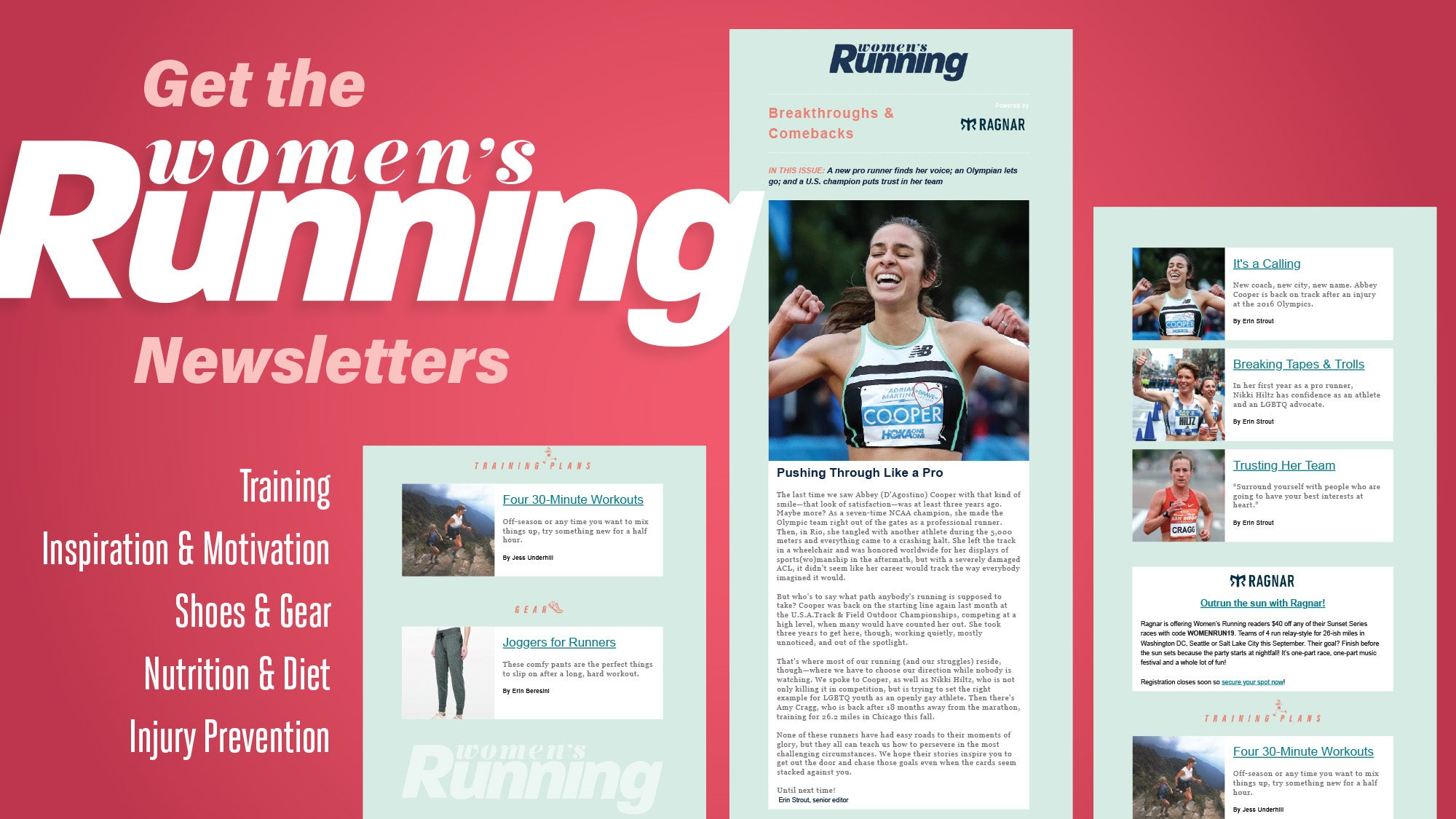 Women's Running email newsletter landing page 2000x1125