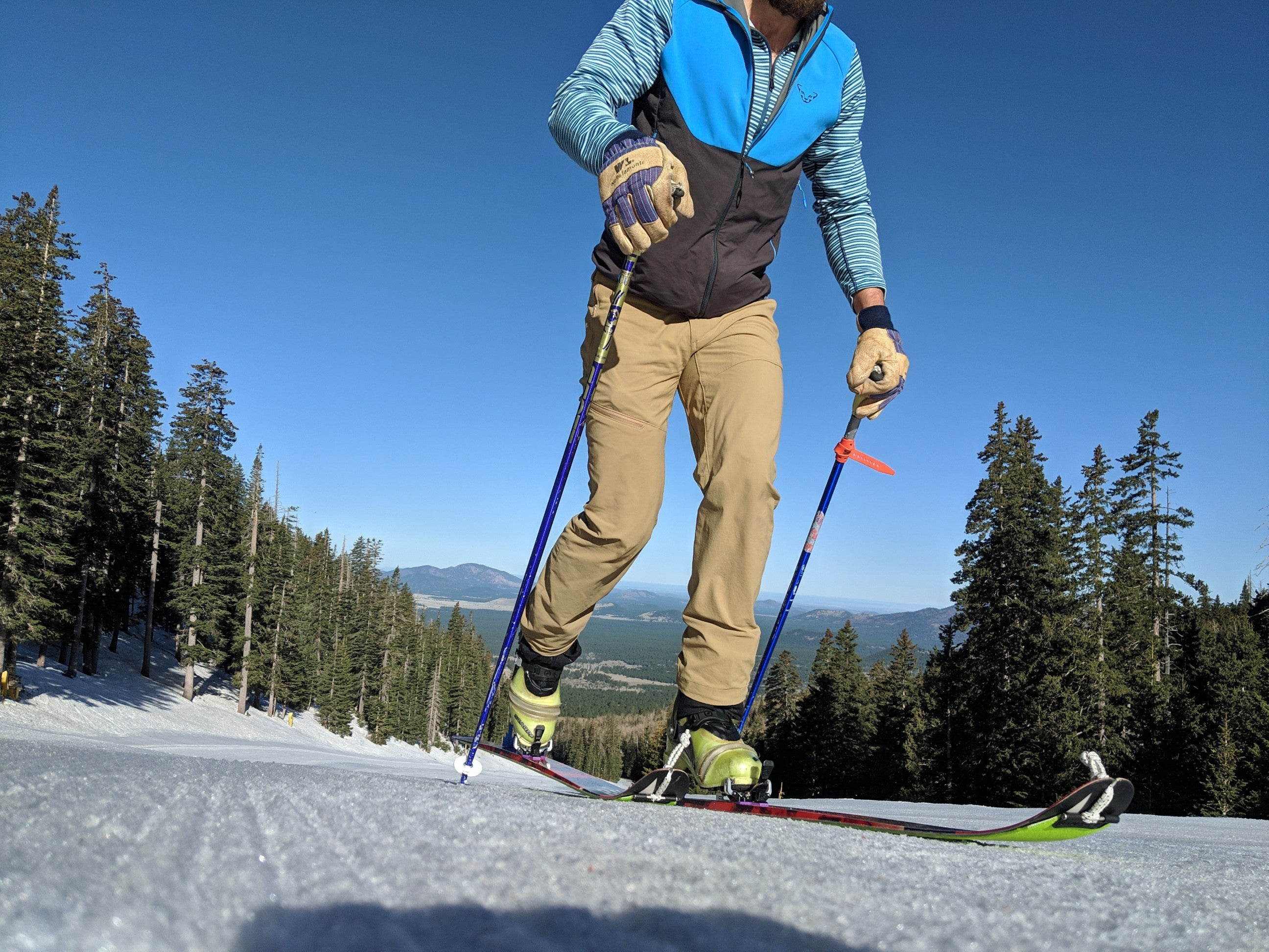 Uphill skiing requires a lot of gear.