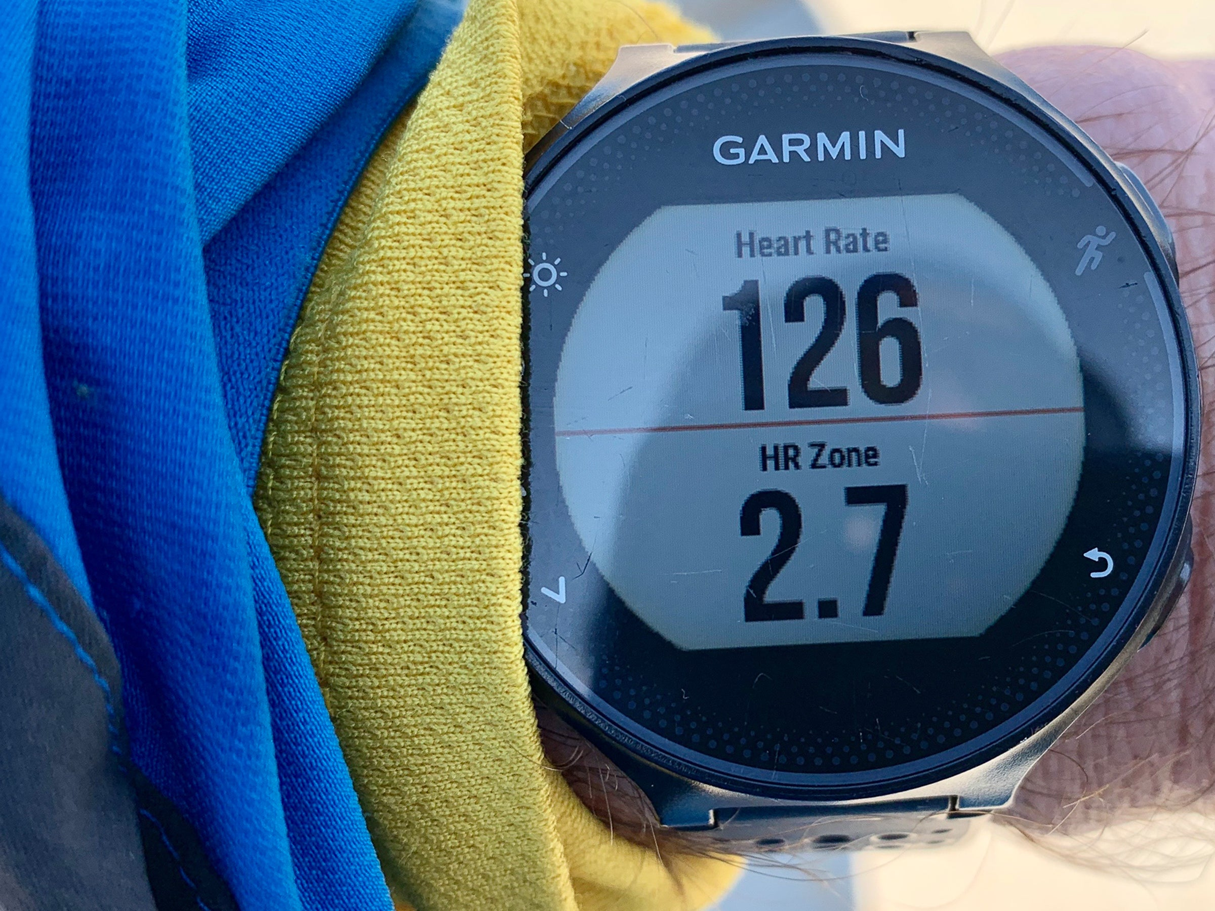 Garmin watch showing heart rate and zones