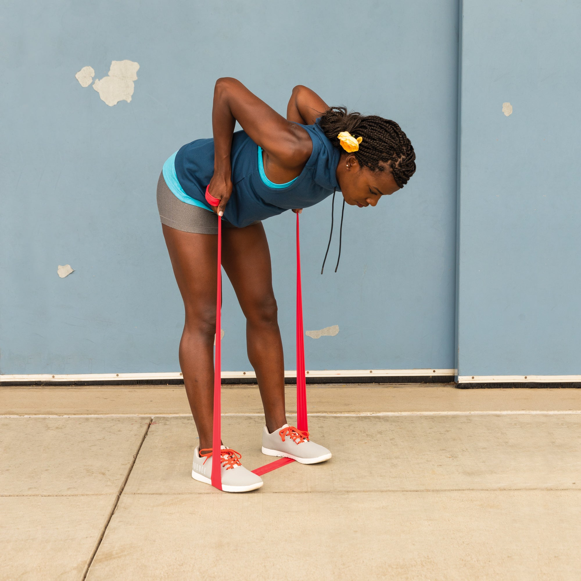 Alysia Montano demonstrating a bent over band row