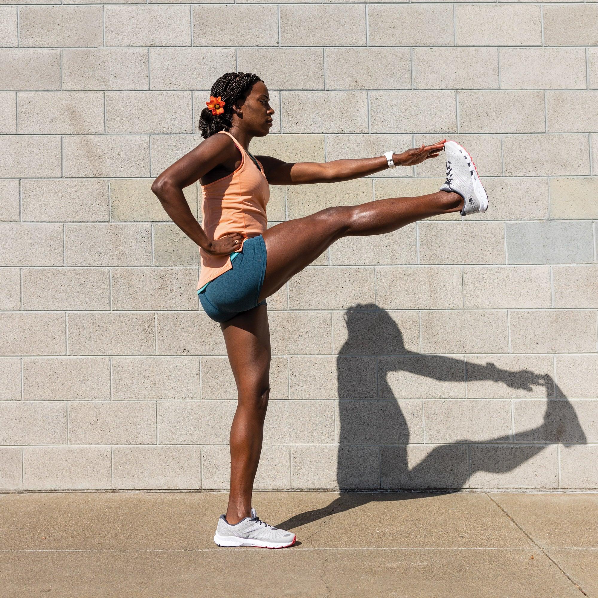 Alysia Montano demonstrating a forward leg swing