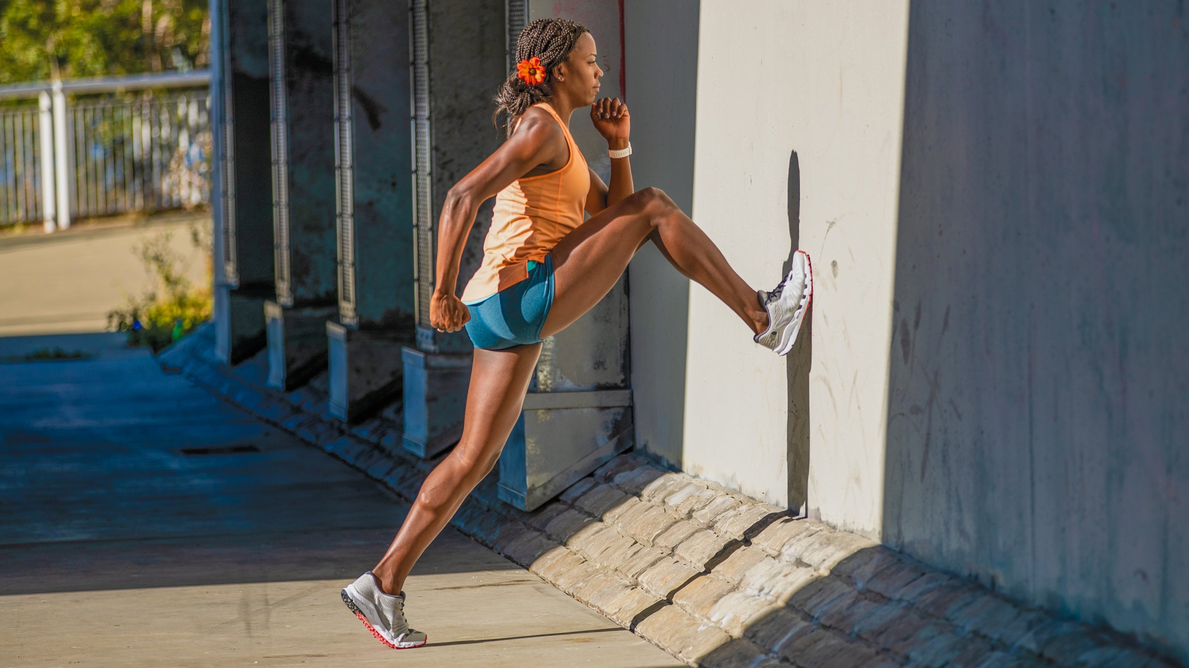 Alysia Montano demonstrating a high knee wall hike