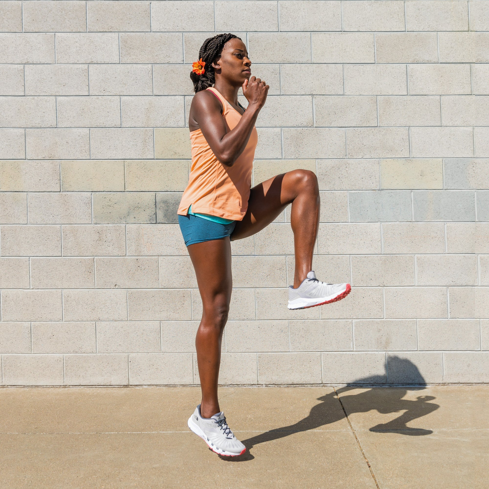 Alysia Montano demonstrating high knees