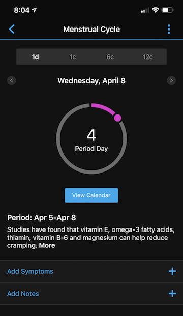 Garmin's period tracker app