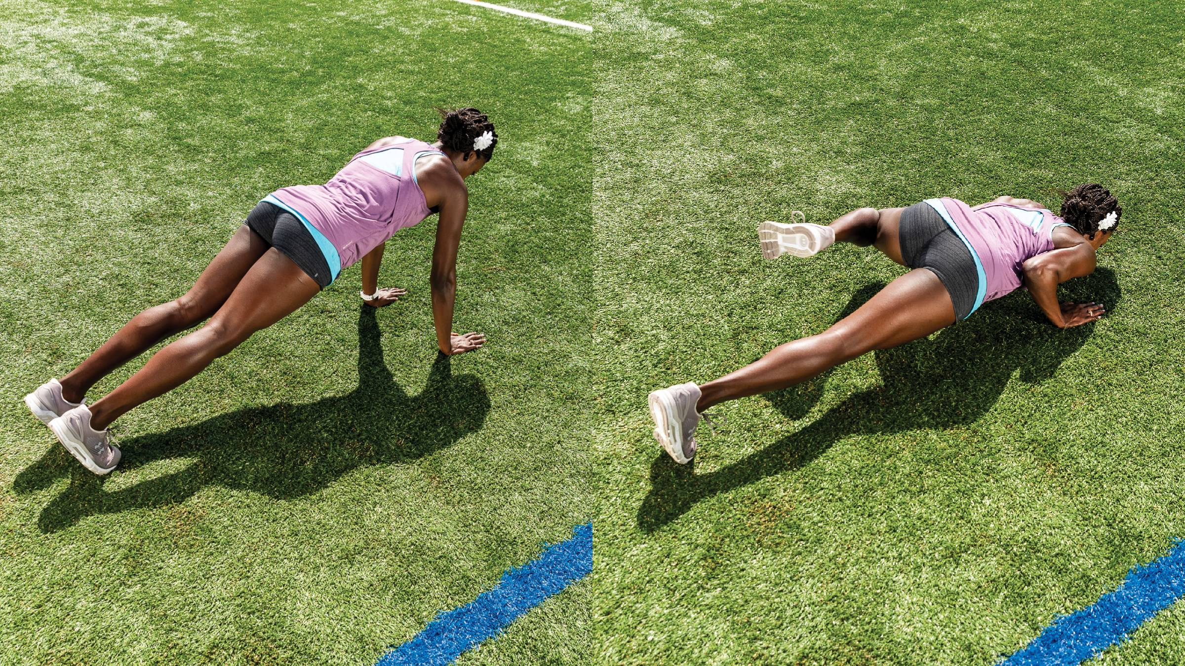Push up side knee hikes