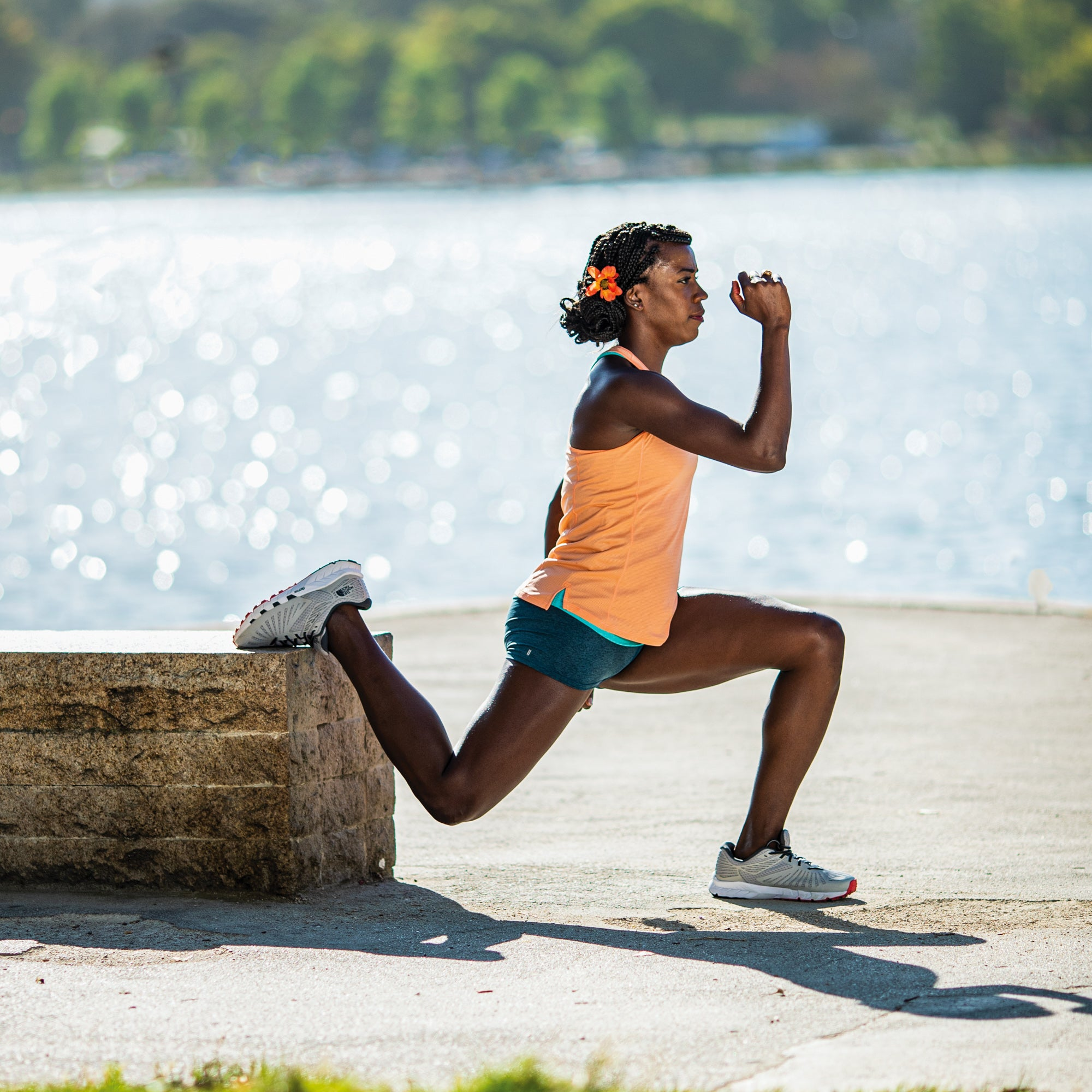 Alysia Montano demonstrating a rear foot elevated split squat