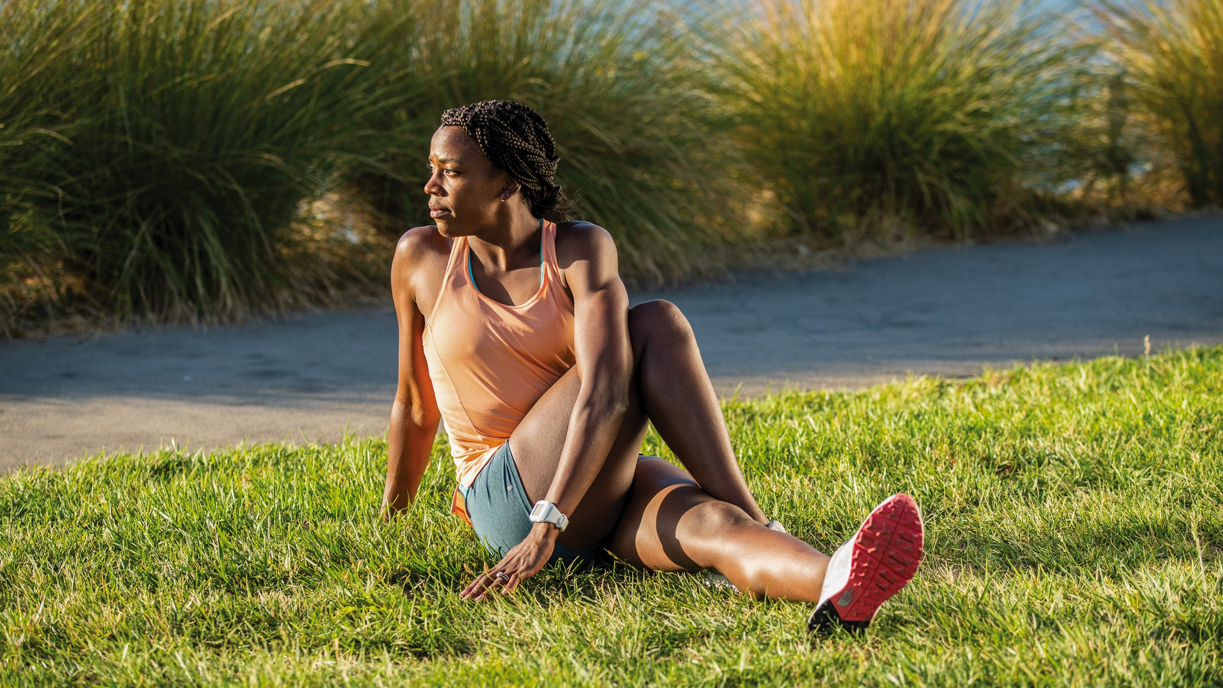 Alysia Montano demonstrating a seated spinal rotation