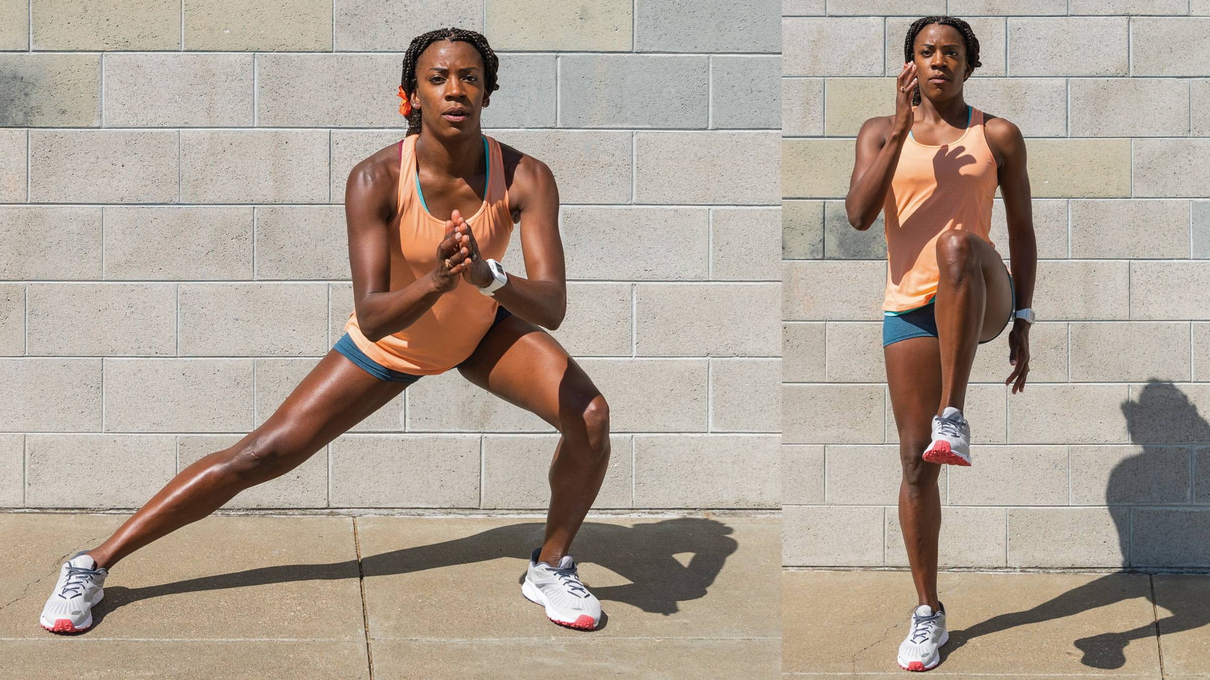 Side lunge to knee drive