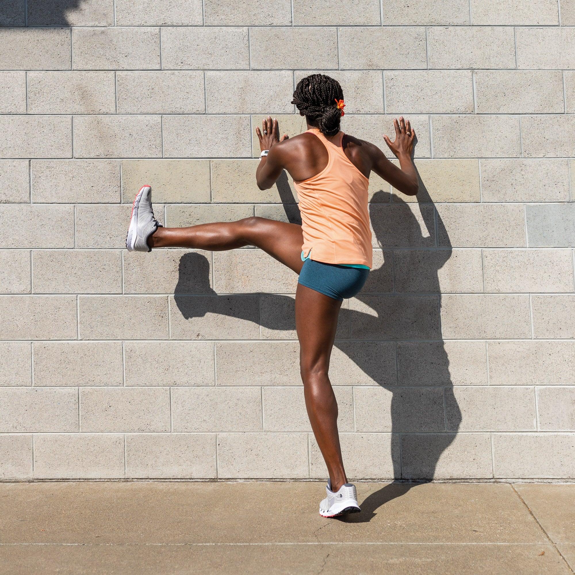 Alysia Montano demonstrating a sideways leg swing