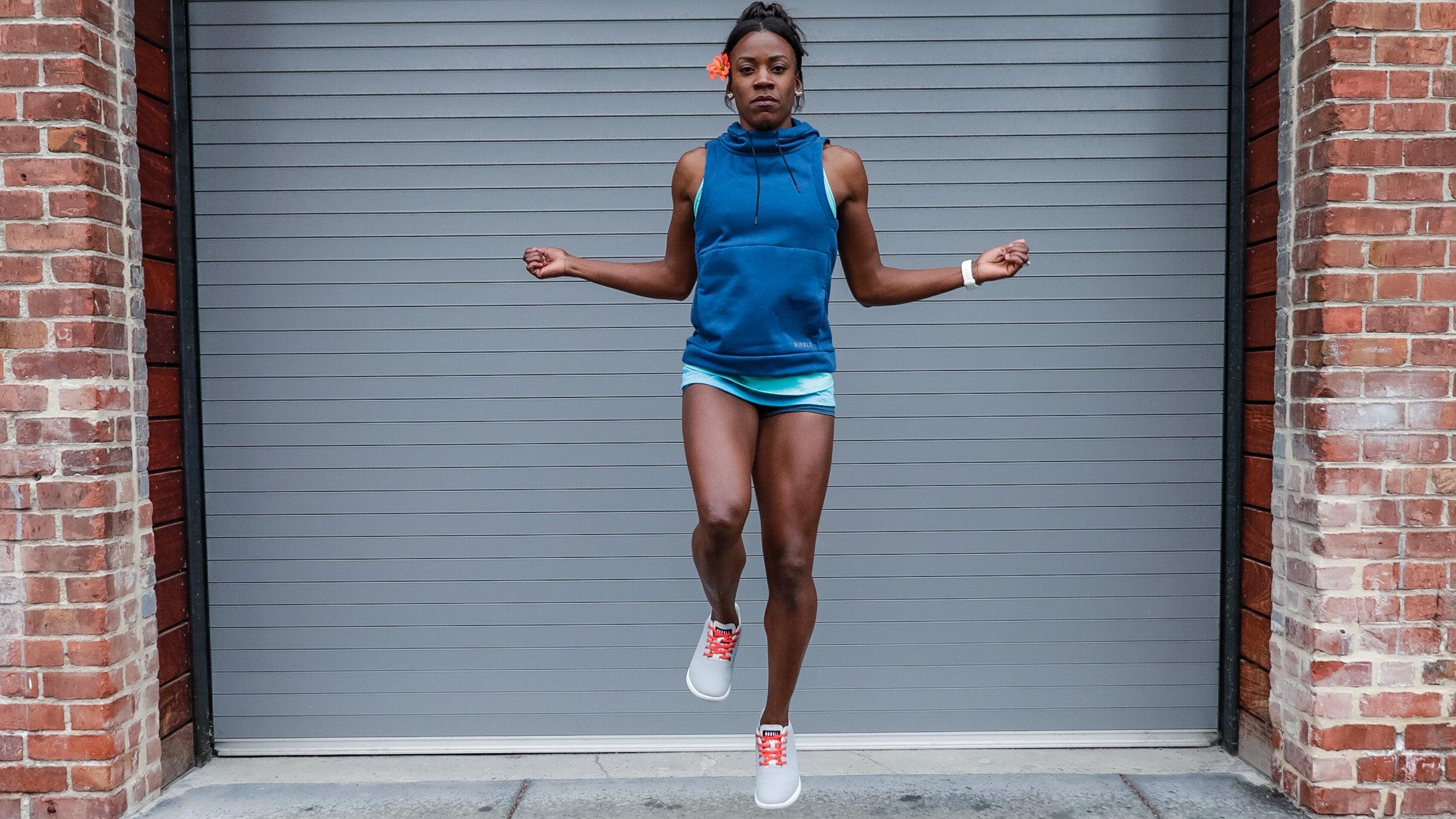 Alysia Montano demonstrating single leg jump rope