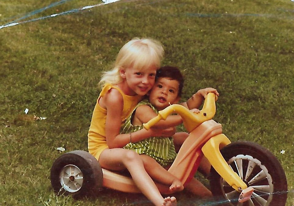 Deena Kastor with her younger sister as a kid