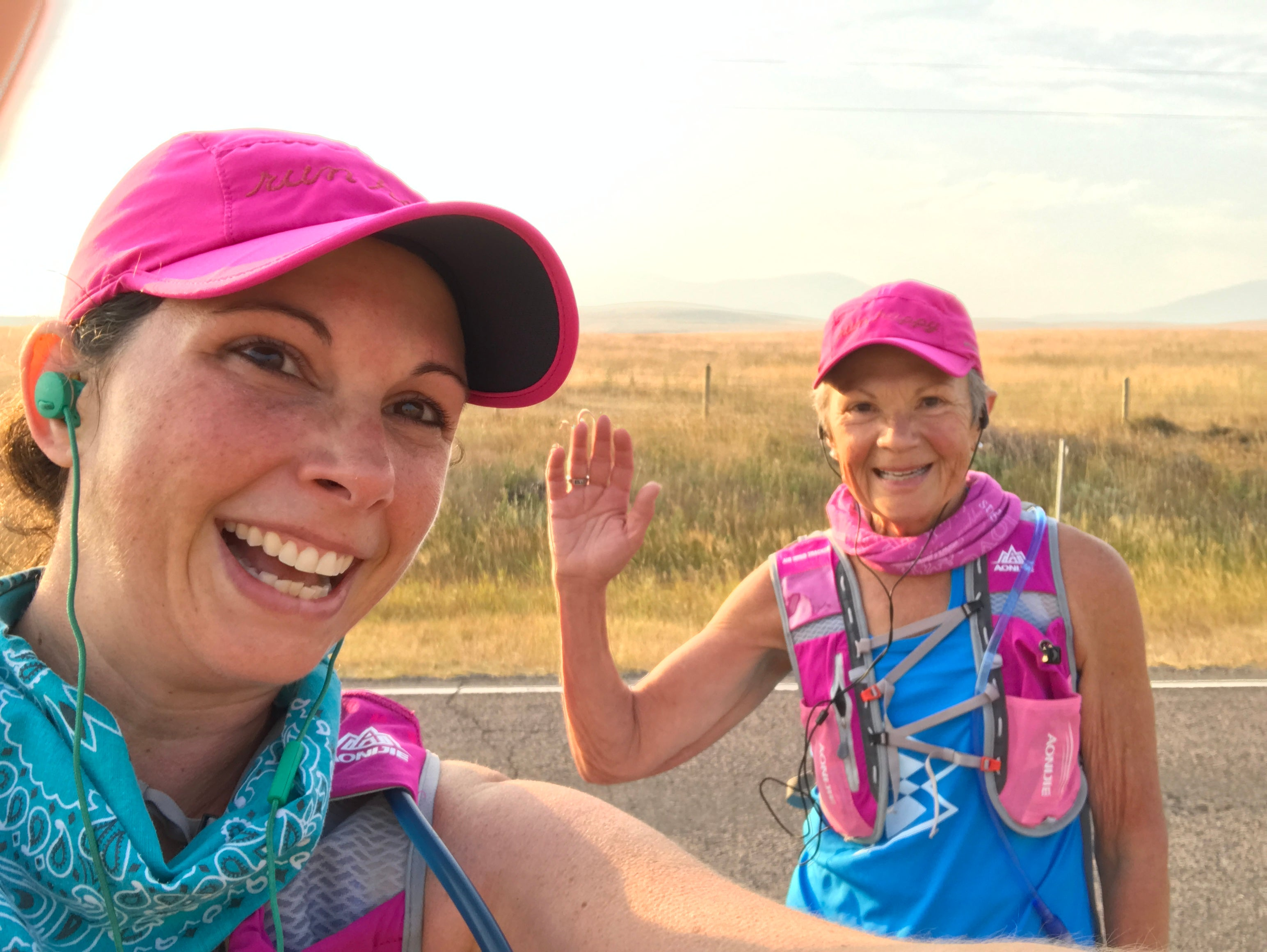 Kelly Herron with her mom during a run