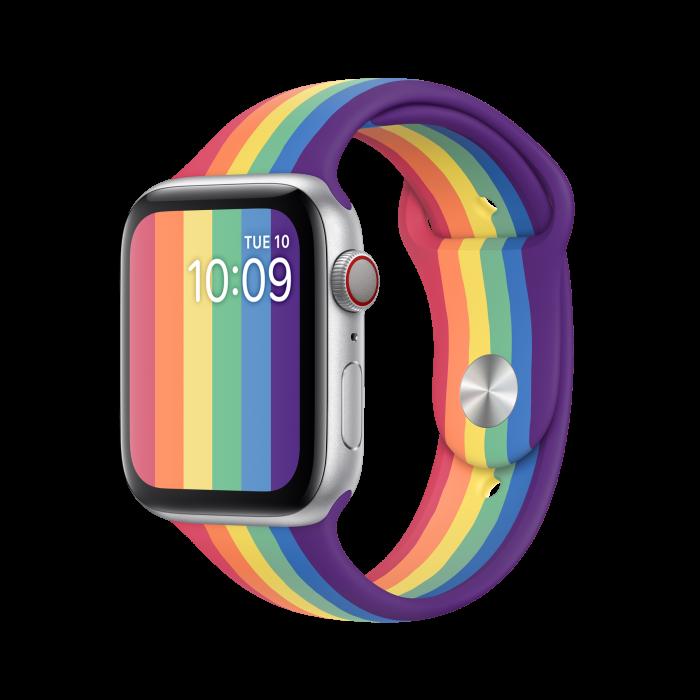 apple watch with rainbow band