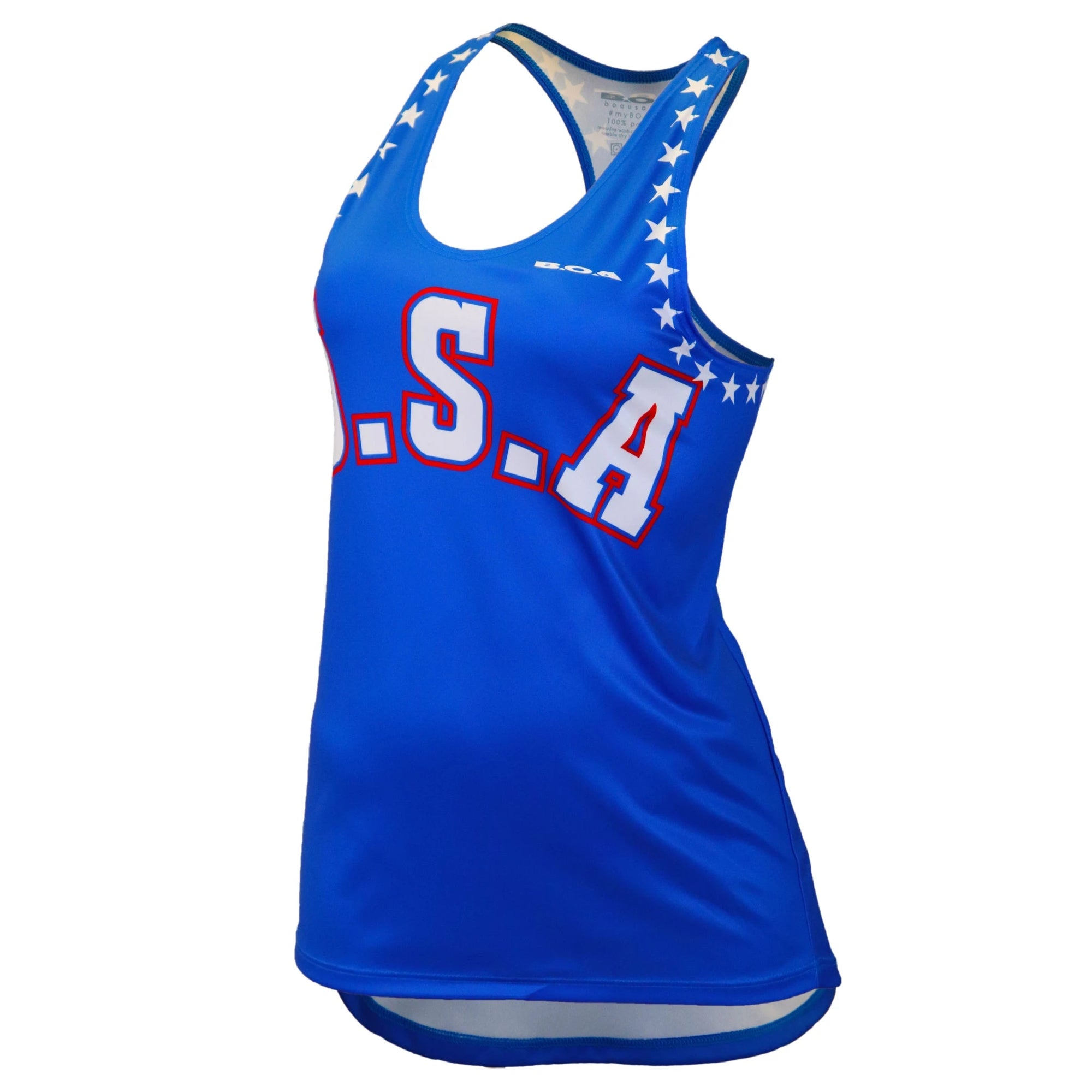 Royal blue tank top with USA in big letters on front and stars around arm holes