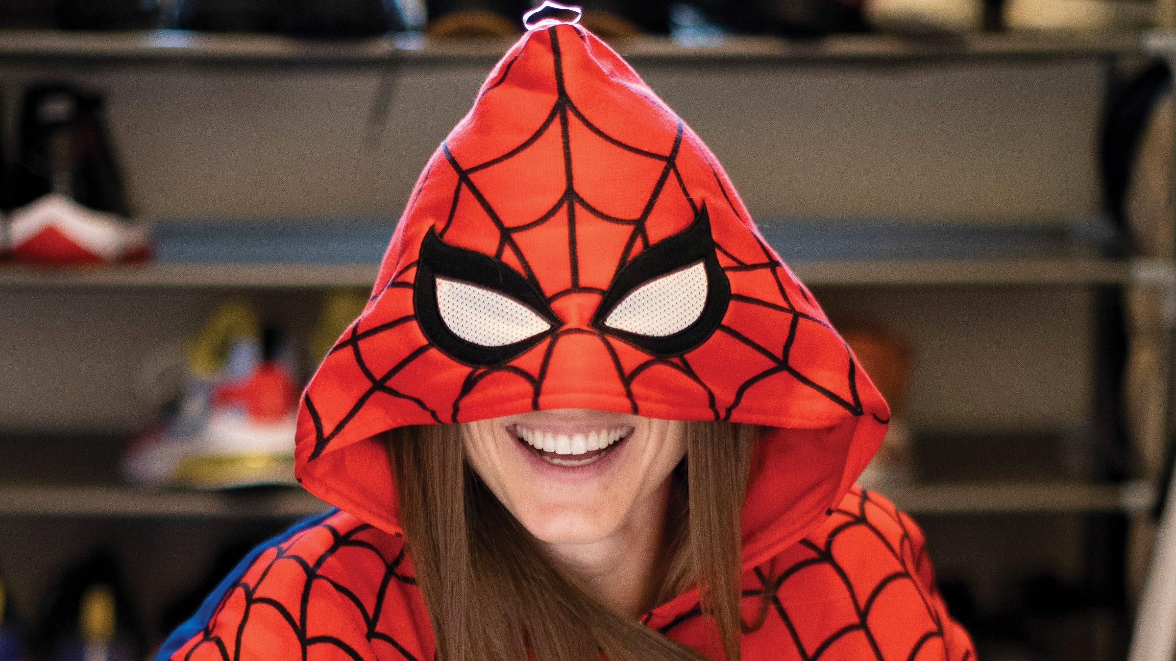Shelby Houlihan wears a Spiderman hoodie