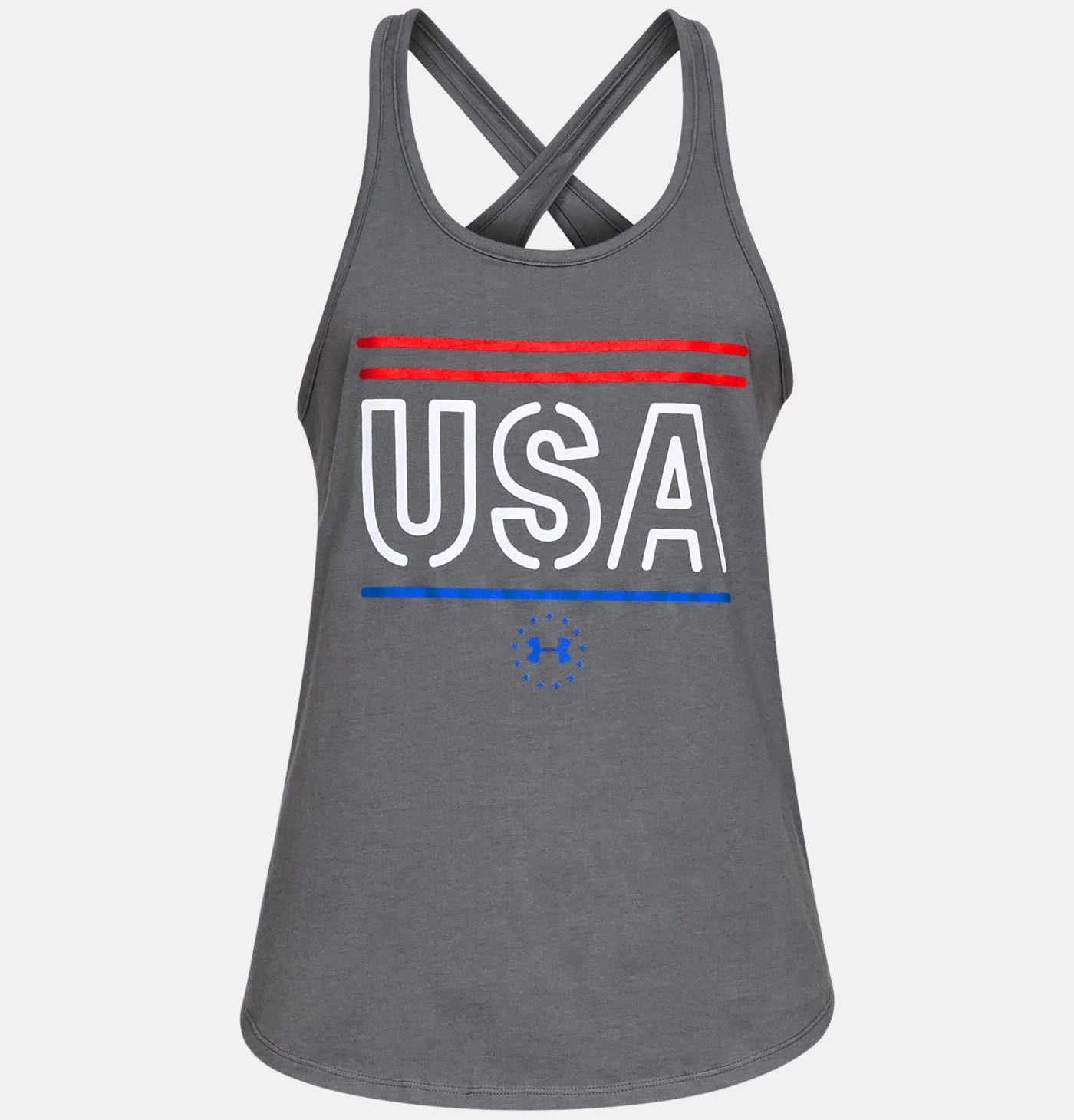 Gray women's tank top with USA in white on front and red and blue lines above and below