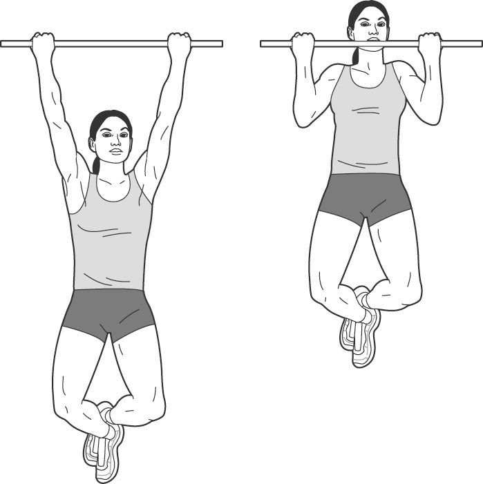 Illustration of woman performing a chin-up