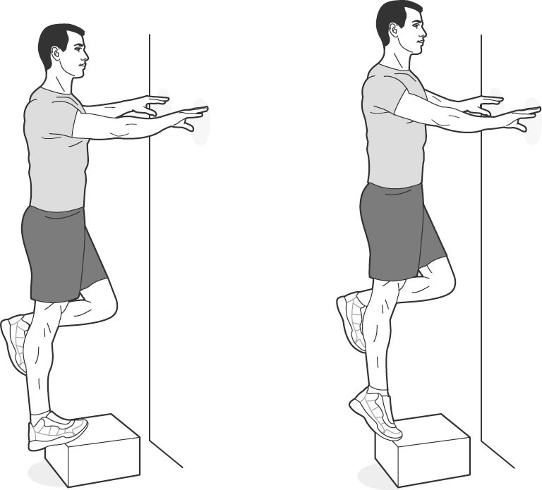 Illustration of a man performing eccentric heel dips