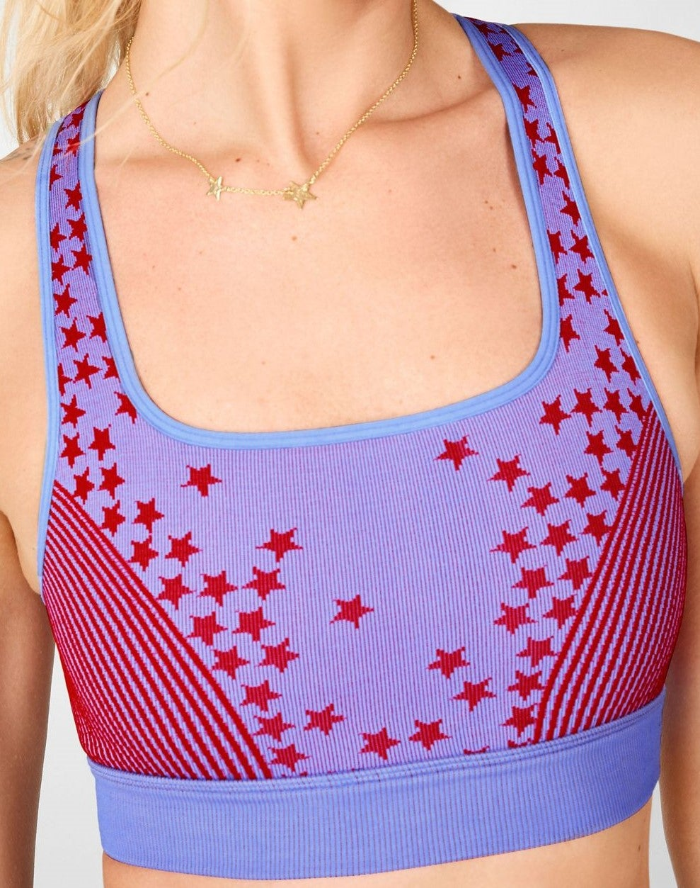 Blue bra with red stars and red stripe detailing
