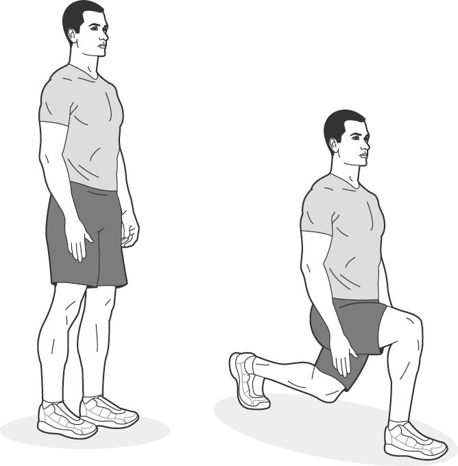 Illustration of man performing walking lunges