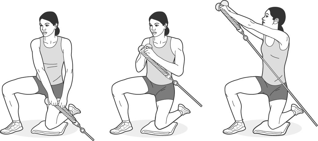 Illustration of woman performing a half-kneeling cable pull