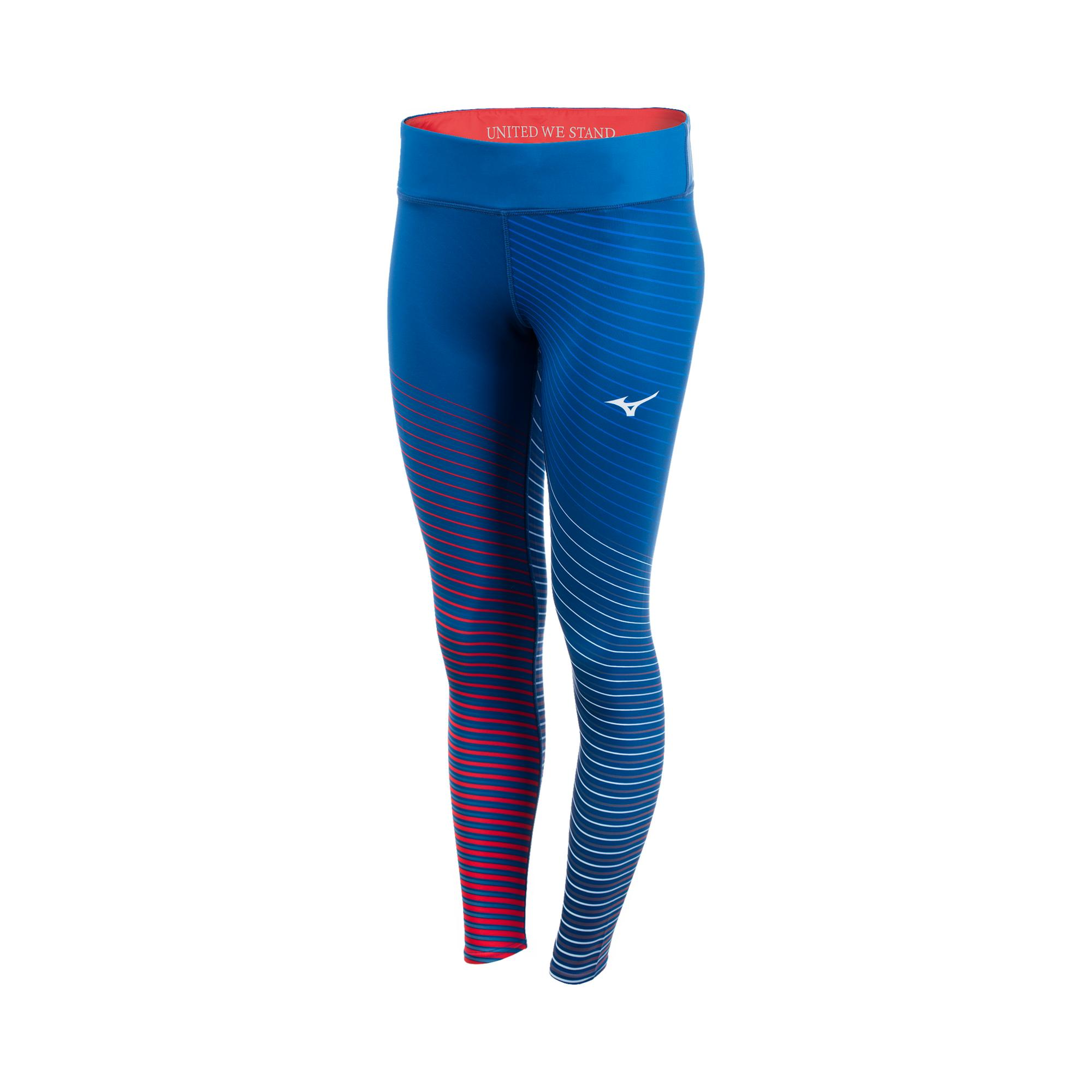 Blue tights with light blue and red stripes on lower legs