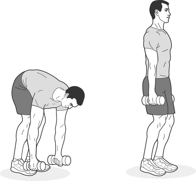 Illustration of a man performing RDLs with dumbbells